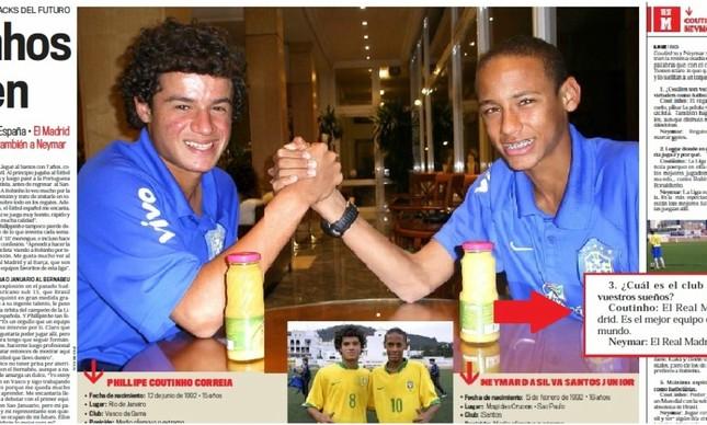 Coutinho e Neymar em entrevista ao Marca
