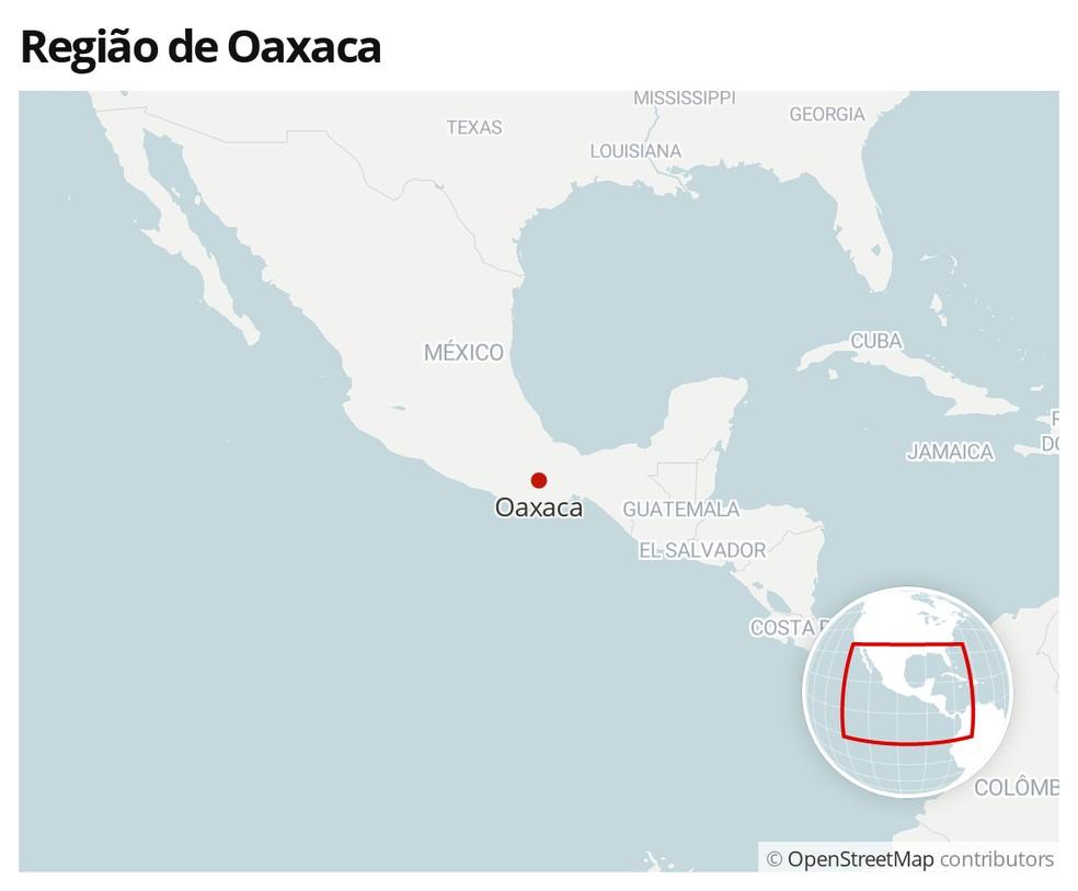 Mapa mostra localização da região de Oaxaca, no México — Foto: G1
