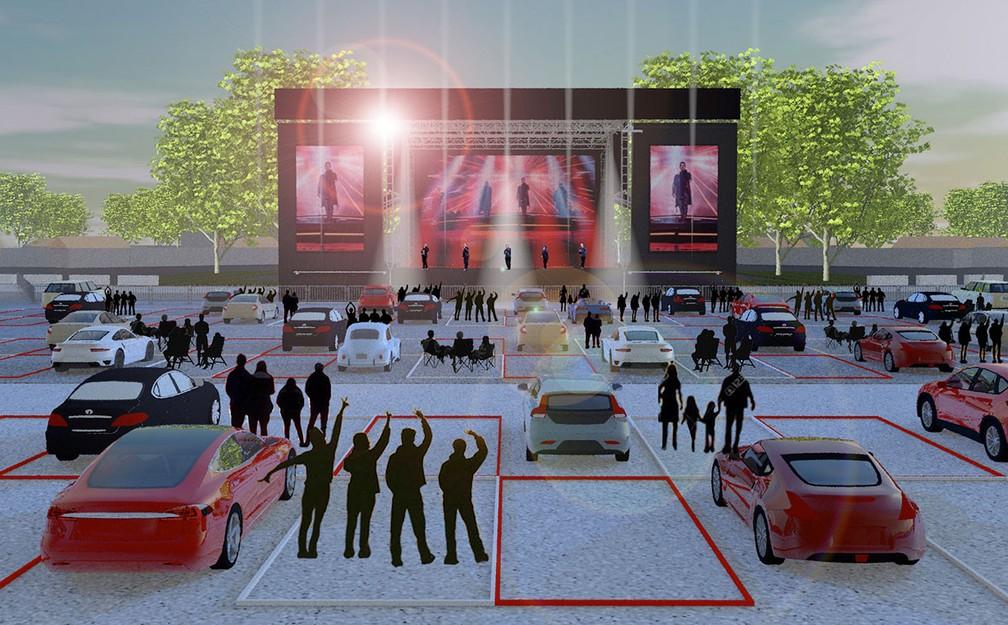 Ilustração mostra a estrutura do Live From the Drive-In, projeto da produtora Live Nation, que acontece nos Estados Unidos em julho — Foto: Divulgação/Live Nation