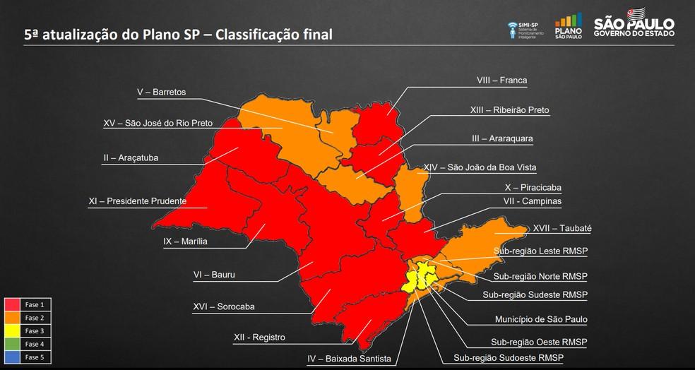 Divisão das regiões do Estado no Plano São Paulo na 5ª fase de atualização — Foto: Divulgação/Governo de SP