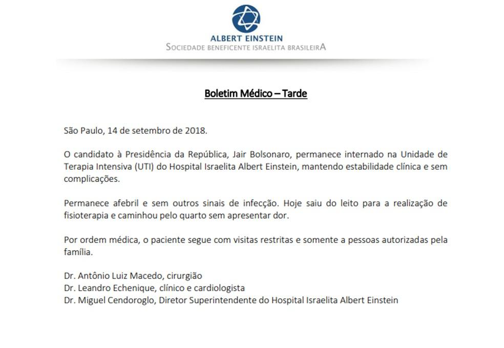 Boletim médico de Jair Bolsonaro divulgado pelo Hospital Albert Einstein às 18h50 desta sexta-feira (14) — Foto: Reprodução