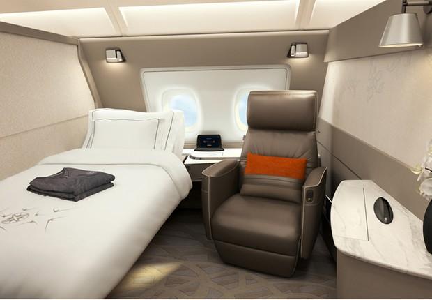 Suíte de primeira classe da Singapore Airlines (Foto: Singapore Airlines/Divulgação)