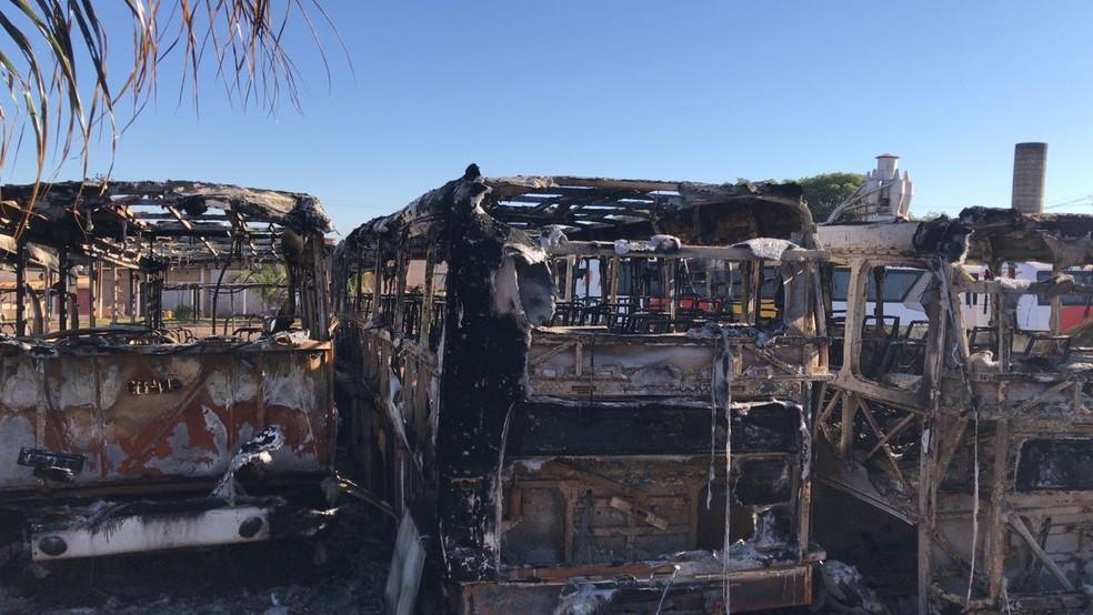Ônibus queimados em Olímpia durante a madrugada desta quarta-feira (18) (Foto: André Modesto/TV TEM)