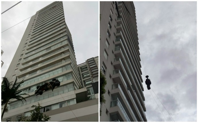 Lotus replica of Ayrton Senna is hoisted the 22nd floor (Photo: Adhemar Cabral)