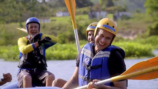 Otaviano Costa encara rafting com alemão de 64 anos: 'Isso é felicidade'