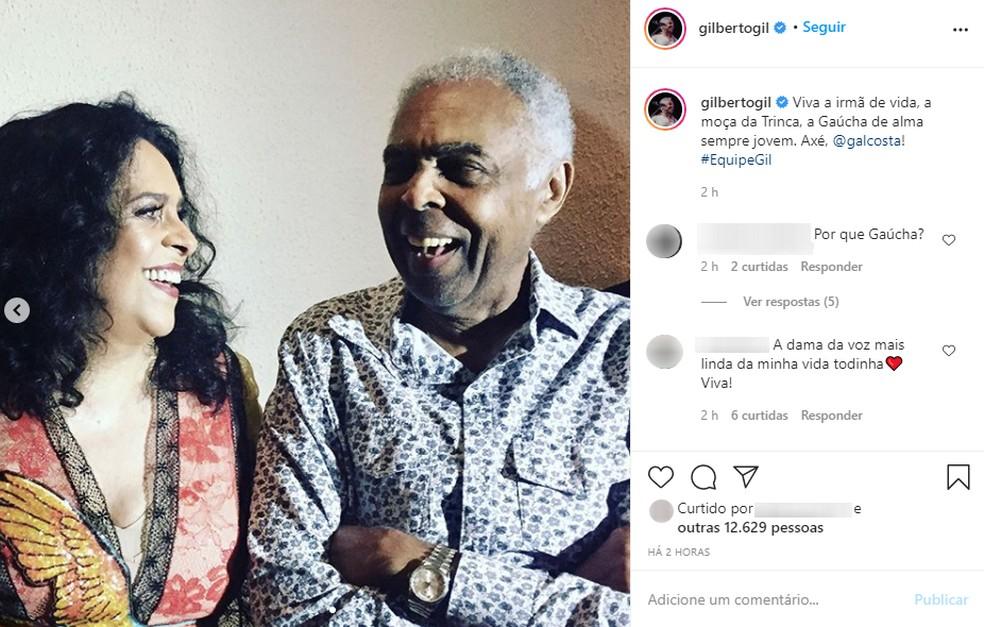 Gil faz post homenageando Gal Costa pelos 75 anos — Foto: Reprodução/Instagram