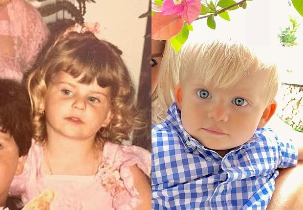 Karina Bacchi na infância e o filho, Enrico (Foto: Reprodução/Instagram)