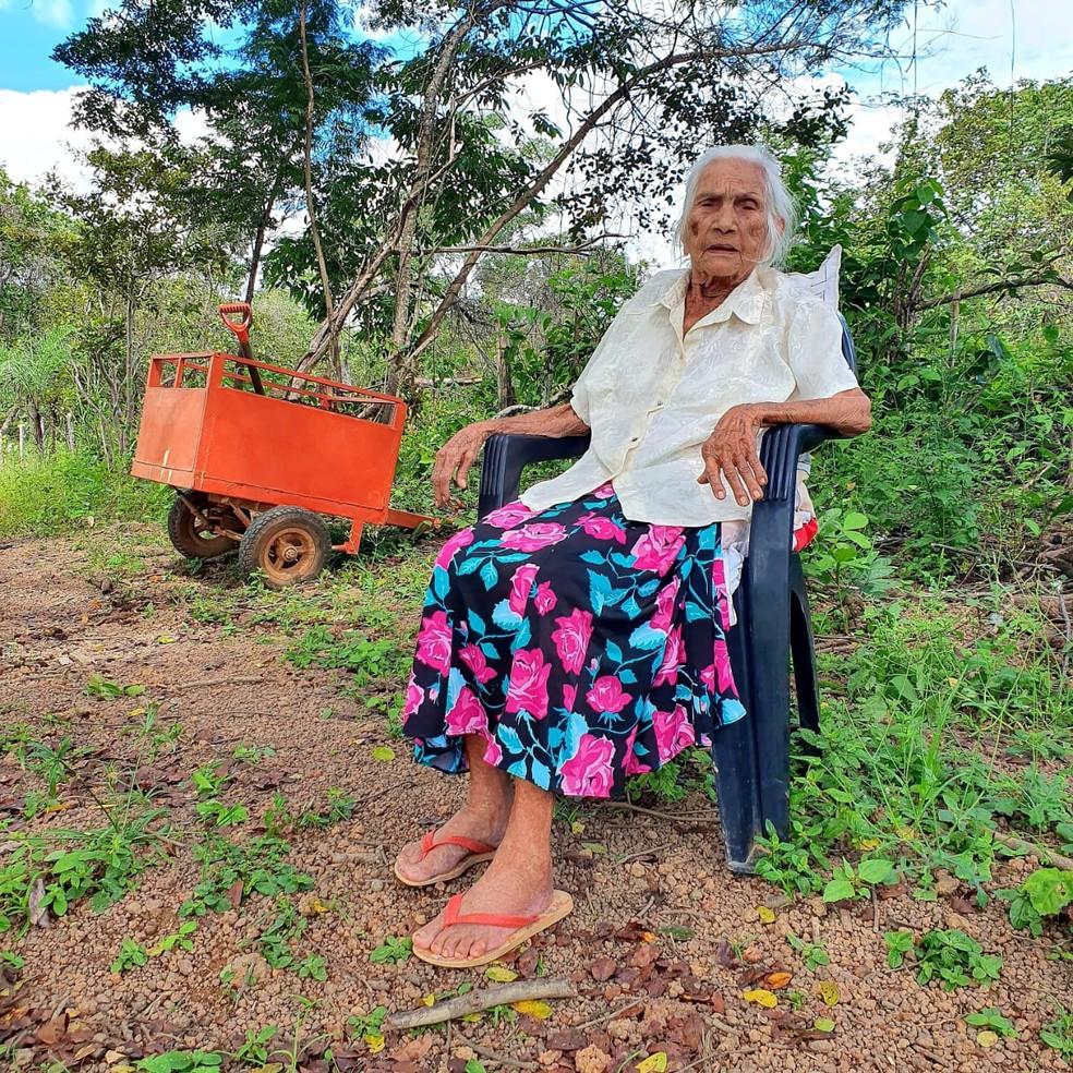 Vovó influencer, de 103 anos, chama atenção com vídeos feitos na roça — Foto: Arquivo Pessoal