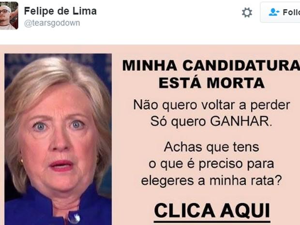 A estranha propaganda em português luso que costumava aparecer em sites eróticos e depois virou meme também esteve nas brincadeiras (Foto: Reprodução)