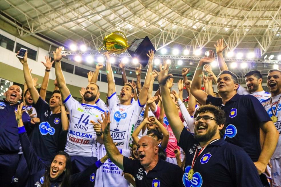 Vôlei Taubaté campeão paulista 2018 — Foto: Danilo Sardinha/GloboEsporte.com