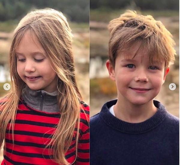 O Príncipe Vicent e a Princesa Josephine em foto divulgada pela Princesa Mary da Dinamarca para celebrar os 8 anos das crianças (Foto: Instagram)
