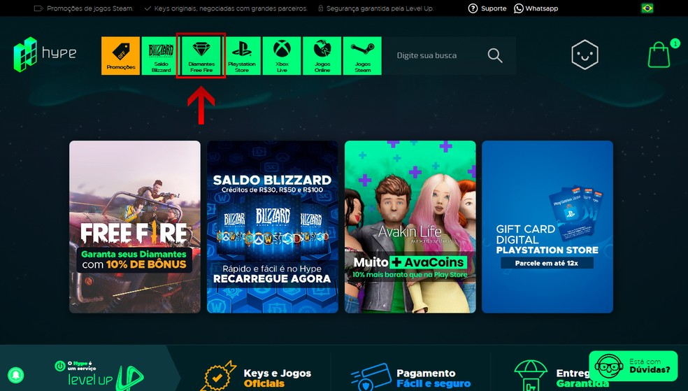 """Access the Hype homepage and click on """"Free Fire Diamonds"""" - Photo: Reproduction / Leandro Eduardo"""
