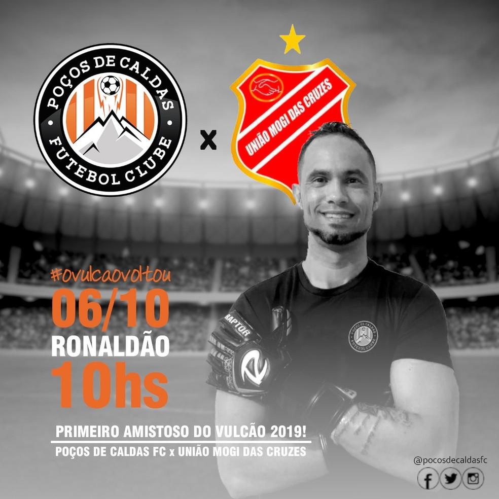 Poços de Caldas FC anunciou amistoso de estreia de Bruno — Foto: Divulgação Poços de Caldas FC