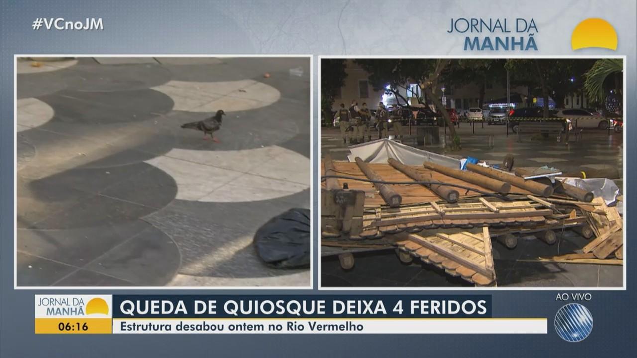 Quiosque desaba e deixa quatro pessoas feridas no bairro do Rio Vermelho, em Salvador