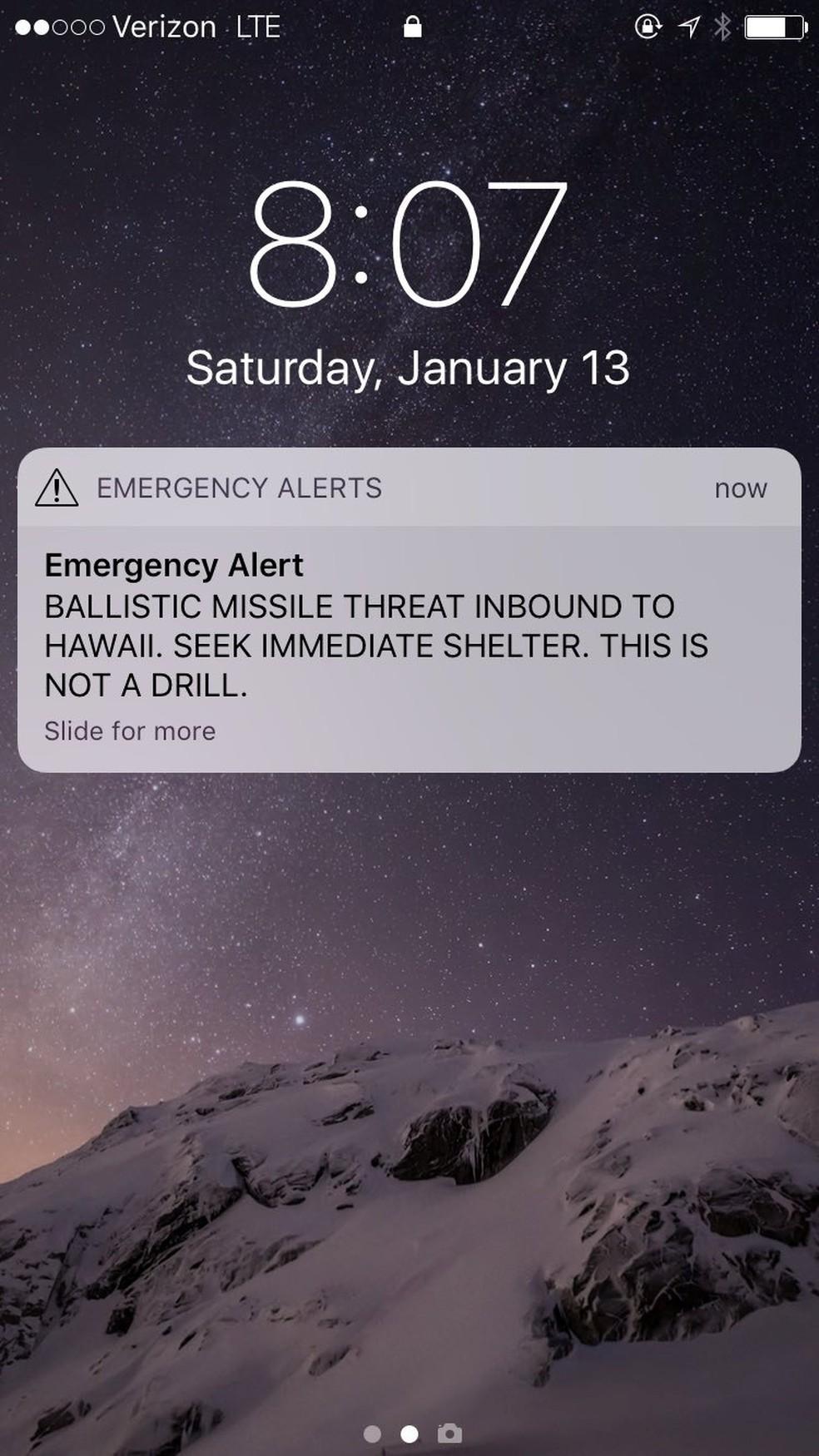 Falso altera de míssil enviado aos moradores do Havaí no último sábado (Foto: Tulsi Gabbard/via REUTERS )