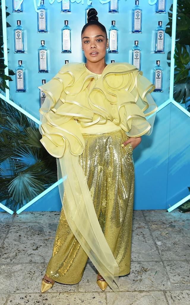 Tessa Thompson de Marc Jacobs verão 2019 em 06.12 (Foto: Getty Images)