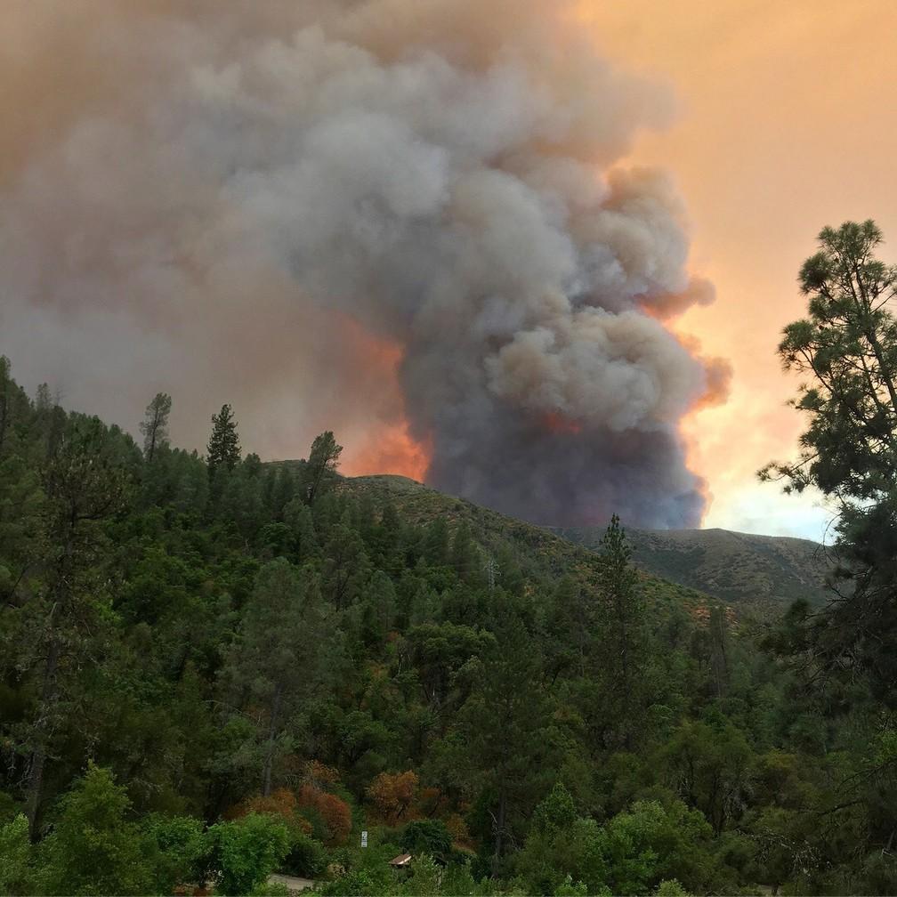 Incêndio Ferguson atinge área próxima ao parque Yosemite, na Califórnia (Foto: Carrie Anderson via AP)