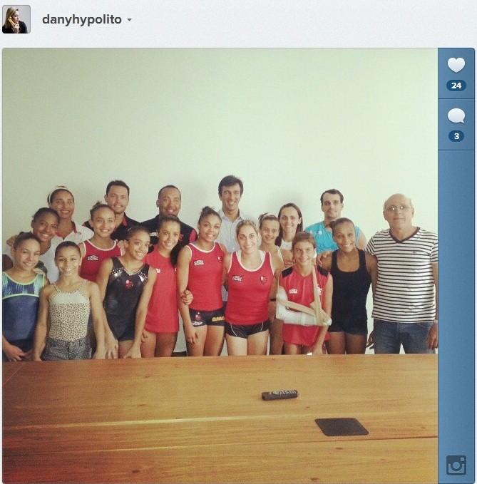 Daniele Hypolito e parte da equipe de ginástica do Fla já estão em Três Rios