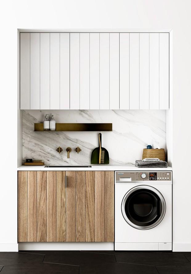 Décor do dia: lavanderia minimalista com preto e branco (Foto: Fisher & Paykel/Divulgação)