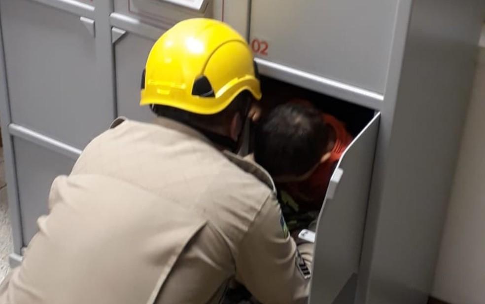 Bombeiros resgatam menino de 3 anos que ficou preso dentro de guarda-volumes em banco de Rio Verde — Foto: Divulgação/Corpo de Bombeiros