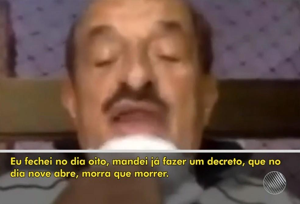 Prefeito de Itabuna diz que fará a flexibilização do comércio 'morra quem morrer' — Foto: Reprodução / TV Bahia