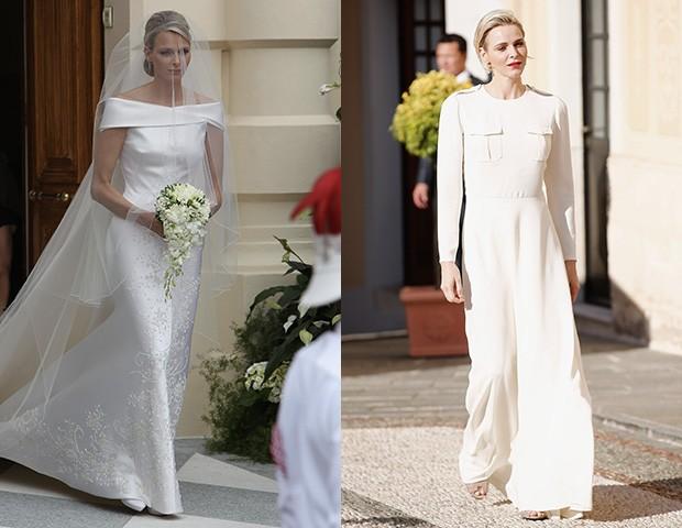 Mesmo o vestido de noiva ou peças mais neutras usadas pela princesa Charlene tem um quê de sexy (Foto: Getty Images)