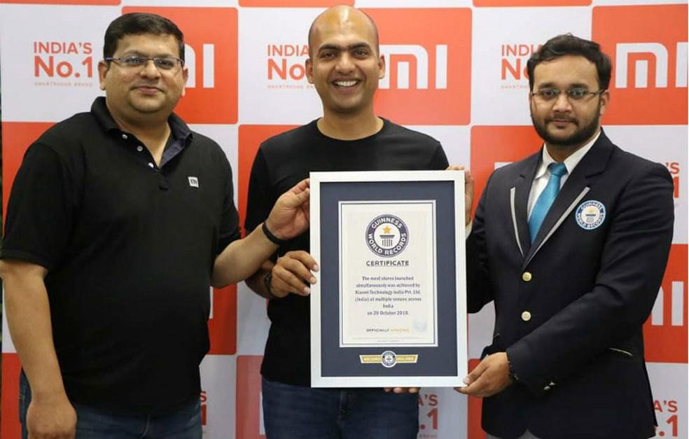 Xiaomi bate recorde de mais lojas inauguradas em um único dia — Foto: Divulgação/Guinness Book