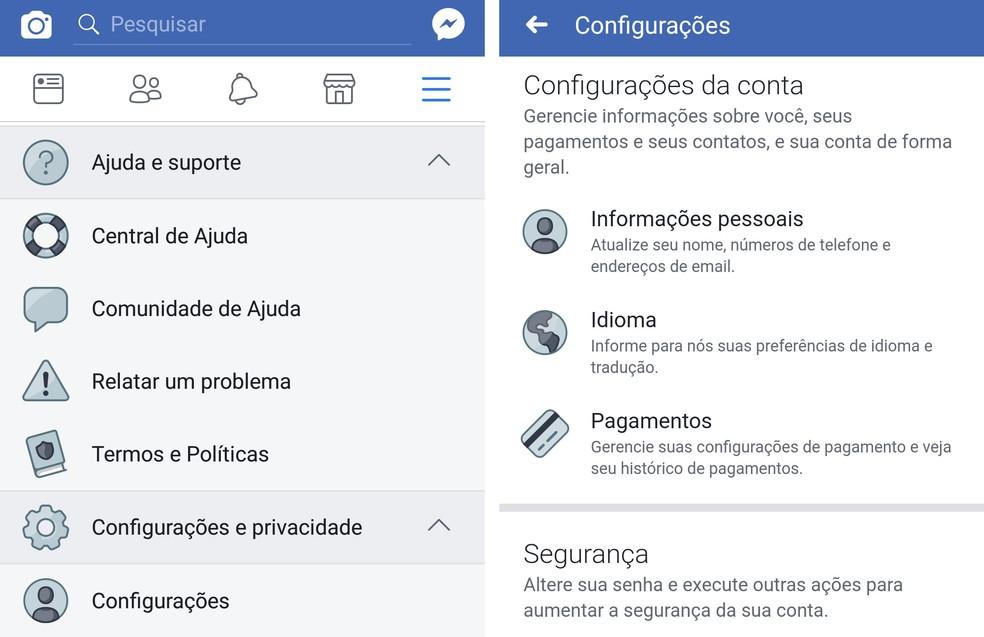 Configurações no Facebook (Foto: Reprodução)