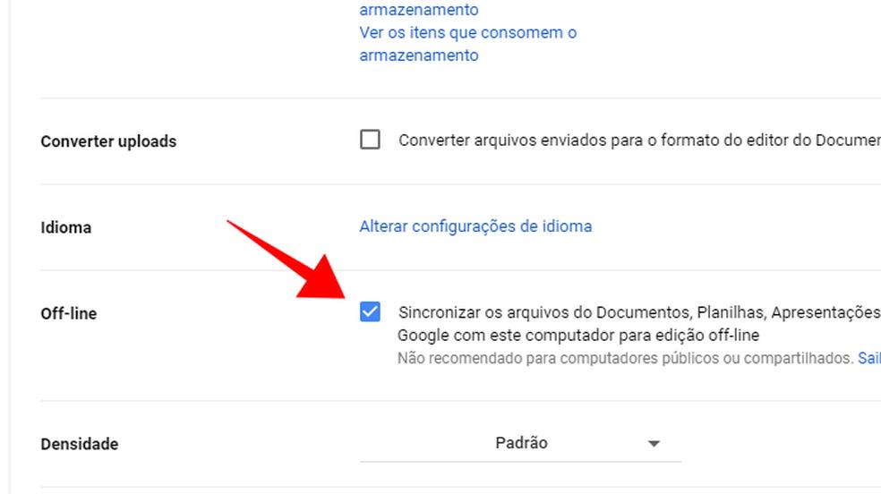 Ative a função offline para acessar documentos desconectado (Foto: Reprodução/Paulo Alves)