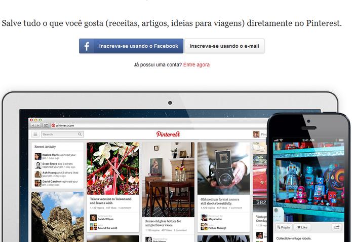 Página de inscrição do Pinterest (Foto: Reprodução/Marcela Vaz)