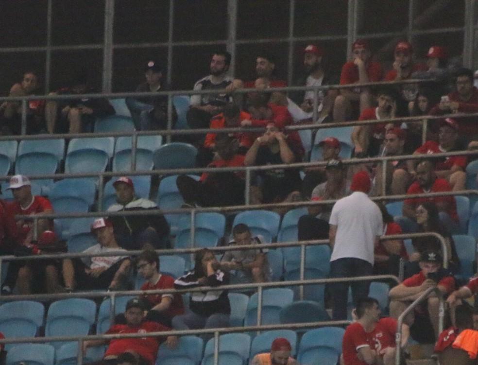 Setor de visitantes no Gre-Nal da Arena do Grêmio — Foto: Eduardo Moura