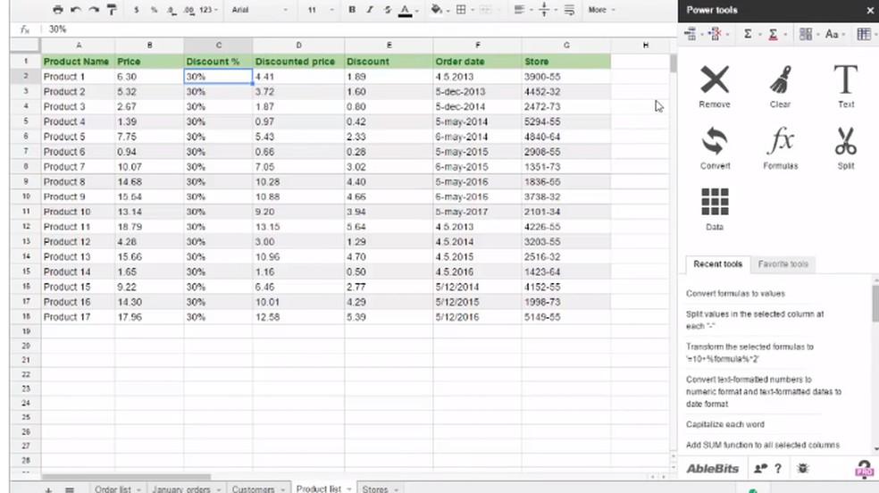 Power Tools expande funções para criar e editar planilhas no Google Sheets — Foto: Reprodução/Chrome Web Store