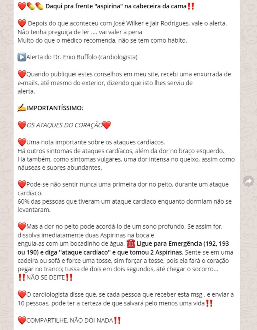Mensagem sobre providências contra infarto circulam no Whatsapp  (Foto: Reprodução)