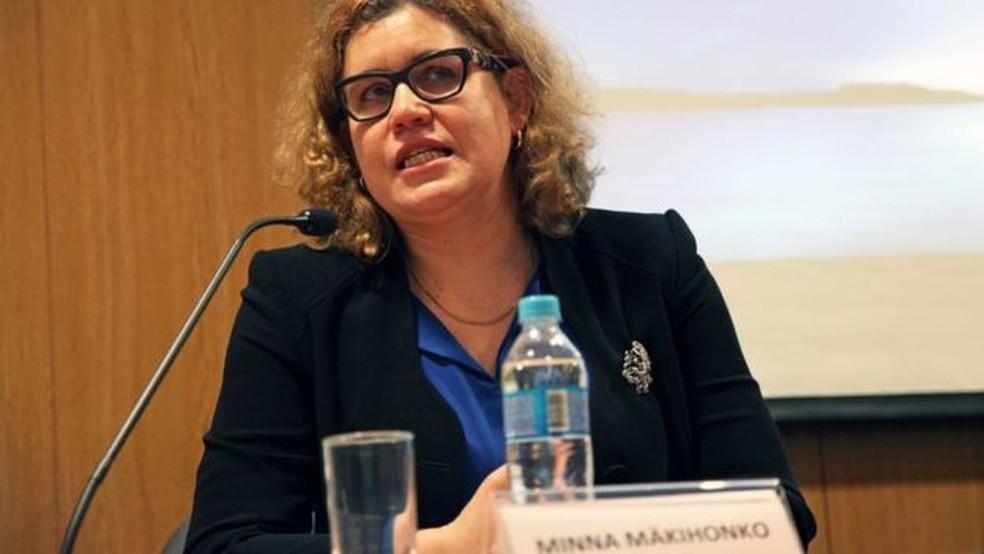 Minna Makihonko em debate em SP; especialista finlandesa busca parcerias para trazer modelo educacional do país ao Brasil — Foto: Vinicius Doti/Fundação FHC (via BBC)