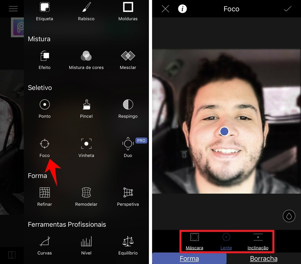LightX permite criar o Modo Retrato, efeito que desfoca o fundo da imagem e dá destaque ao objeto principal — Foto: Reprodução/Rodrigo Fernandes