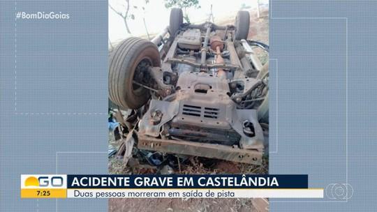 Casal morre após caminhonete capotar na GO-164, em Castelândia