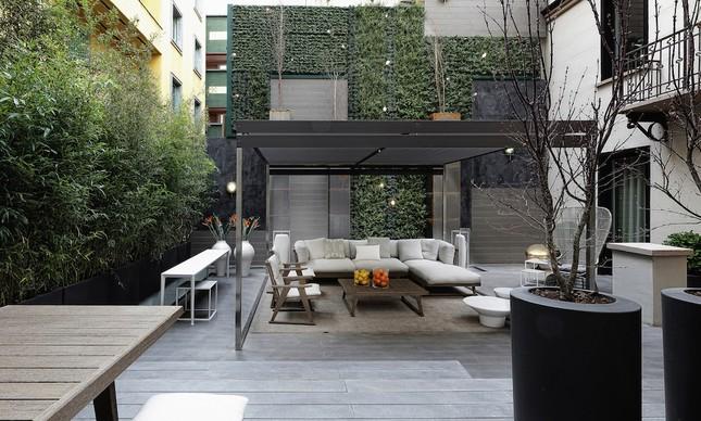 Um dos terraços externos