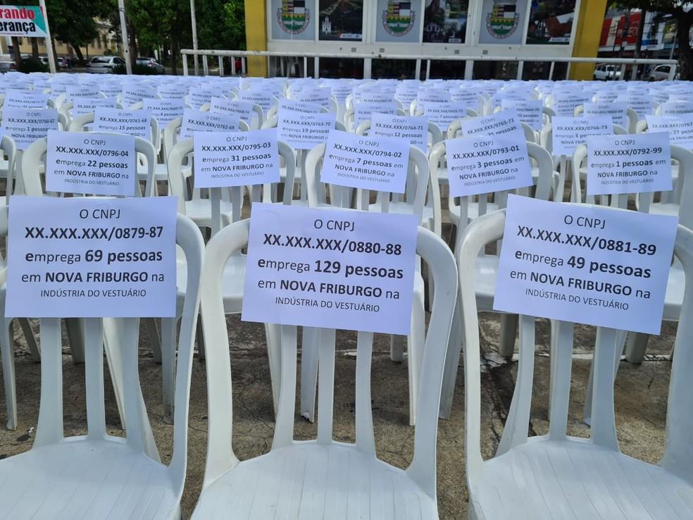 Em cada cadeira foi colocada uma placa contendo um número fictício de CNPJ e outro número referente aos empregos que cada uma delas gera, direta ou indiretamente — Foto: Divulgação/Costurando Esperança