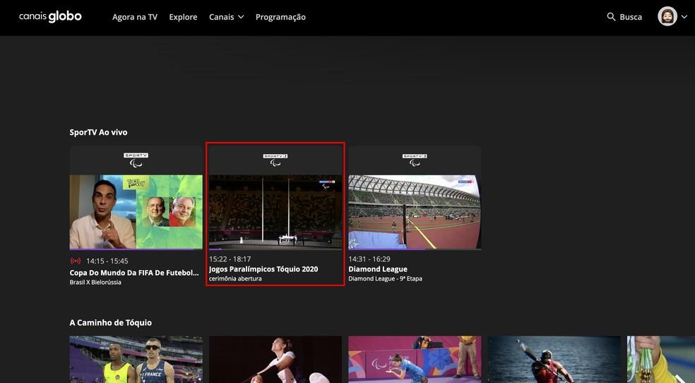 Selecione o SporTV 2 para assistir aos Jogos Paralímpicos no Canais Globo — Foto: Reprodução/Rodrigo Fernandes