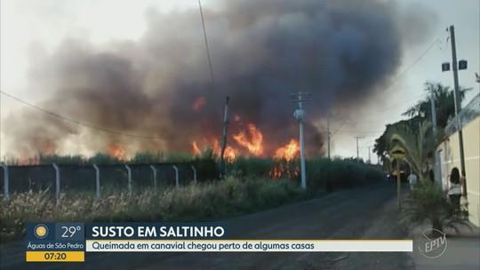 Incêndio atinge canavial na Rodovia Cornélio Pires em Saltinho