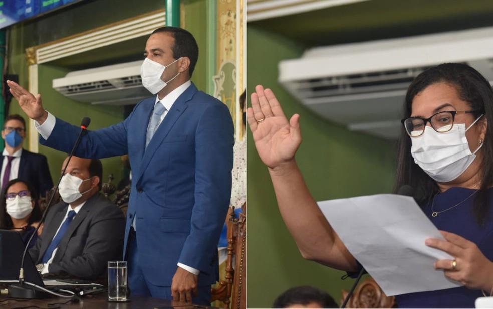 Bruno Reis e Ana Paula Matos durante a posse dos cargos de prefeito e vice-prefeita, respectivamente, nesta sexta (1º) — Foto: Divulgação