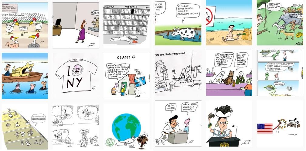Algumas tirinhas publicadas por Nani em sua rede social, que era bastante produtiva. A mais recente foi postada no dia 24 de setembro. — Foto: Nani / Reprodução