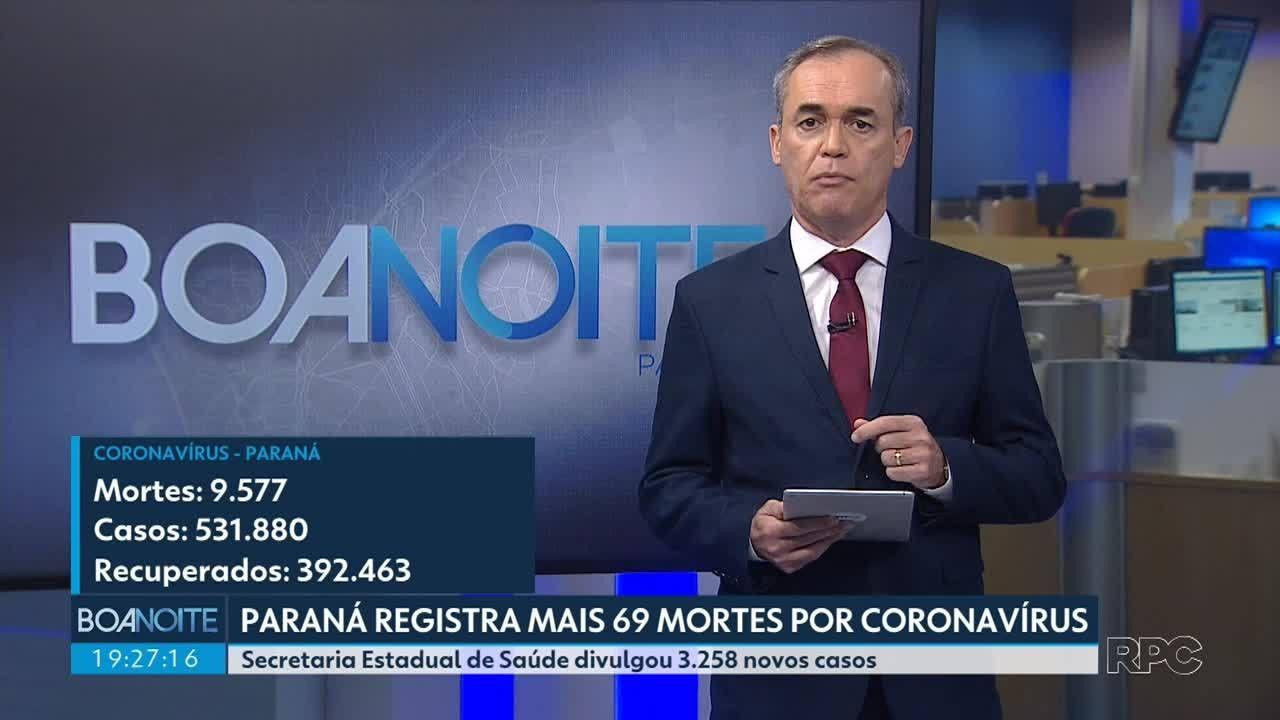 Paraná registra mais 69 mortes por coronavírus