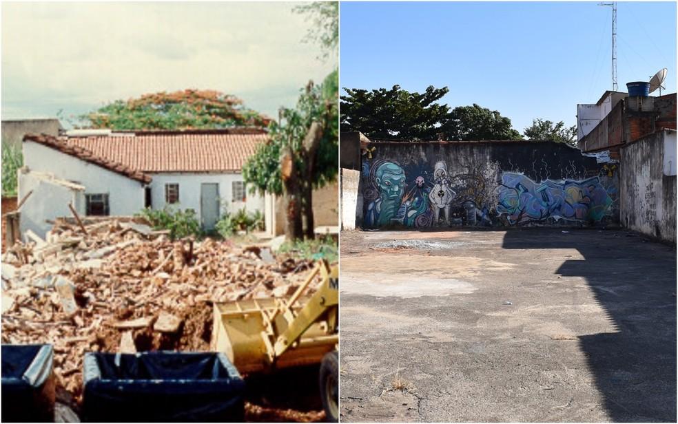 Equipamento com césio-137 foi aberto em casa na Rua 57, no Centro de Goiânia (Foto: (Divulgação/ Cnen)  (Paula Resende/G1))