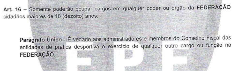 artigo 16 da FPF proíbe que diretores de clubes acumulem cargos — Foto: Reprodução
