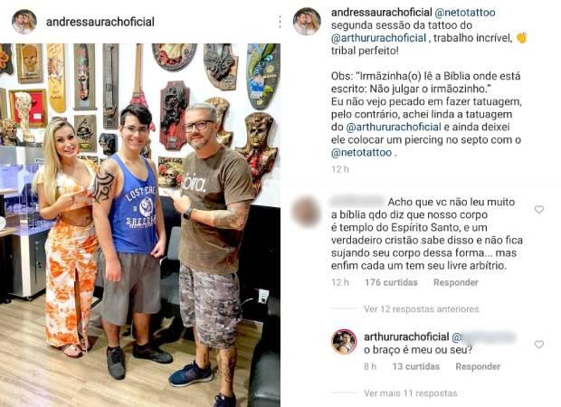 Andressa Urach e o filho, Arthur, rebatem críticas (Foto: Reprodução/Instagram)