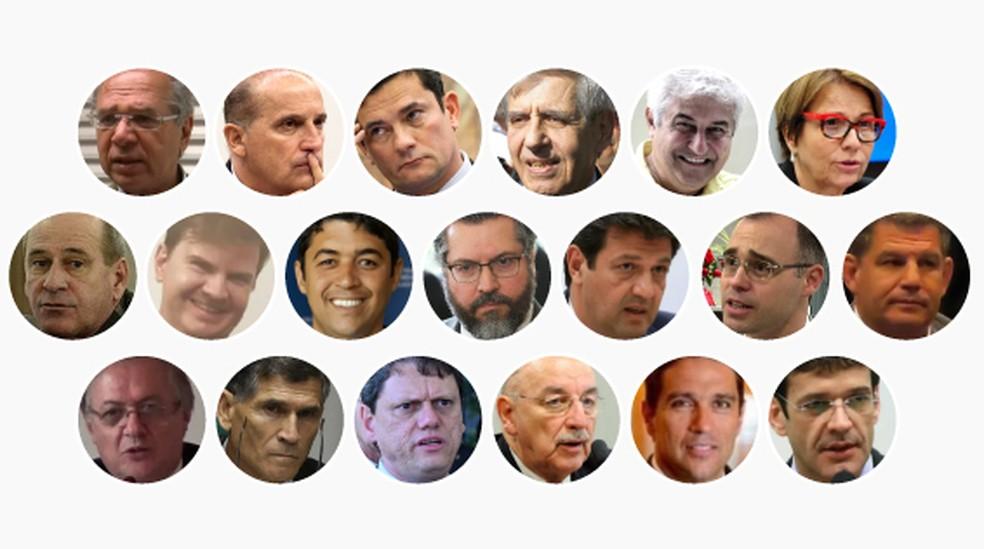 Arte mostra os 19 ministros anunciados por Bolsonaro até agora — Foto: Arte G1