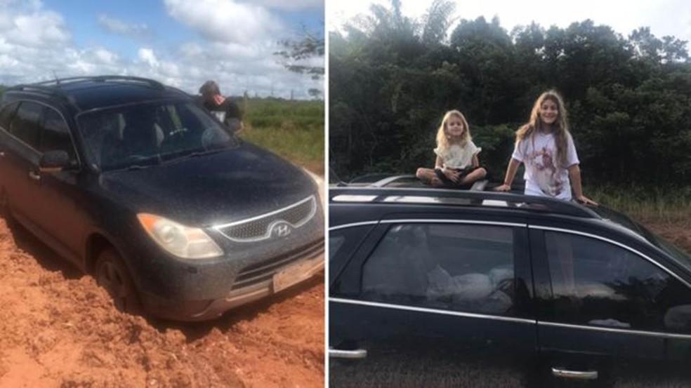 Na Transamazônica, família enfrentou lama e atoleiros — Foto: Arquivo Pessoal