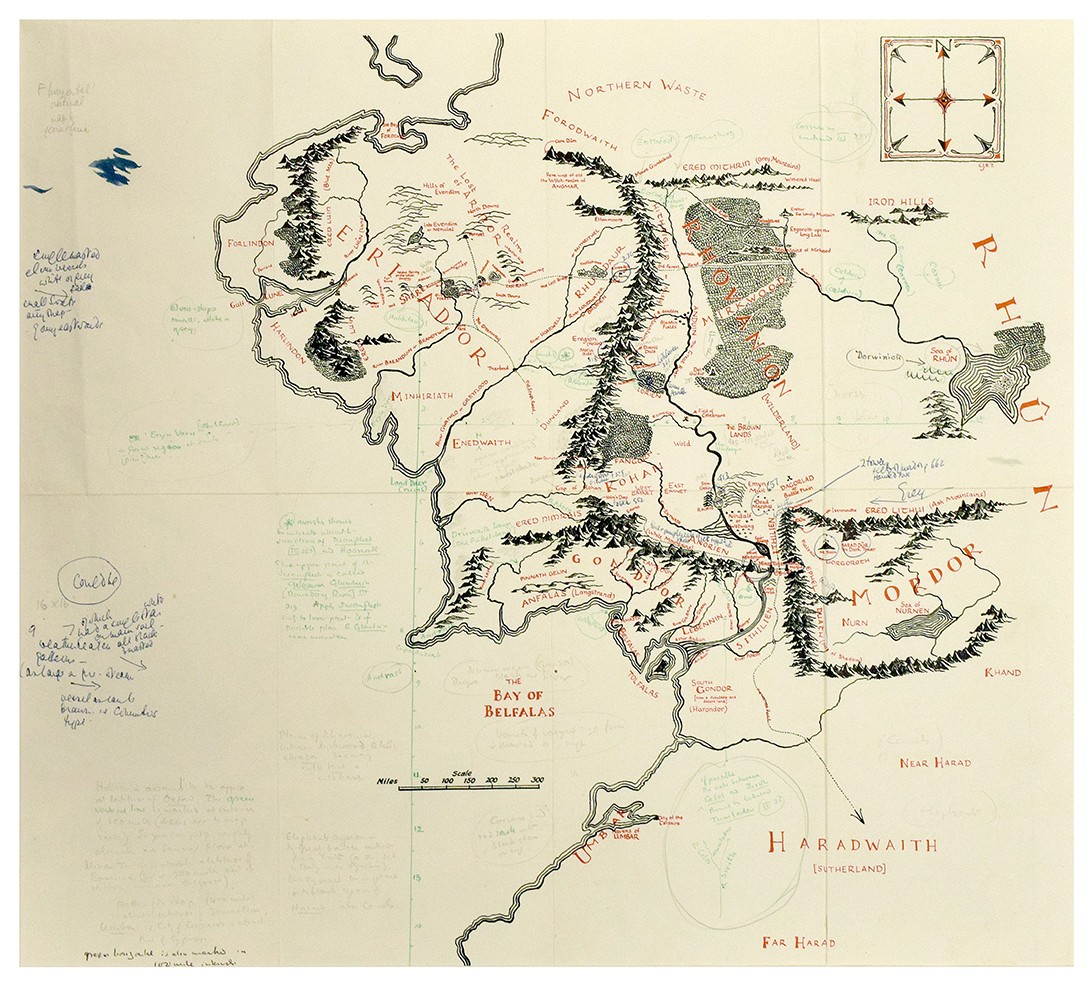 Mapa anotado da Terra Média (Foto: © The Tolkien Estate Limited 2016)