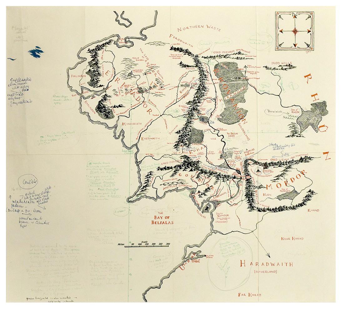 Mapa anotado da Terra Média (Foto: © The Tolkien Estate Limited 2016)